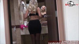 Blonde Nylonschlampe gefickt beim echten Date